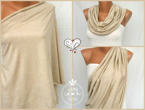 Latte color nursing scarf Infinity nursing cover up  by VesyDesign
