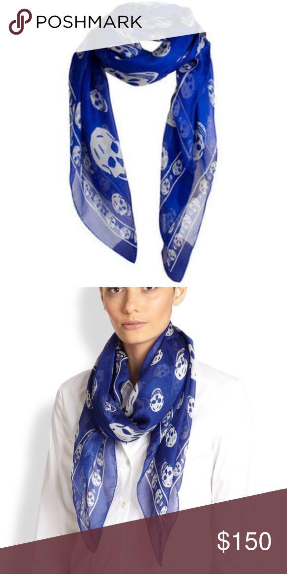 Alexander McQueen Skull Print Silk Chiffon Scarf Blue silk authentic Alexander McQueen scarf Alexander McQueen Accessories Scarves & Wraps