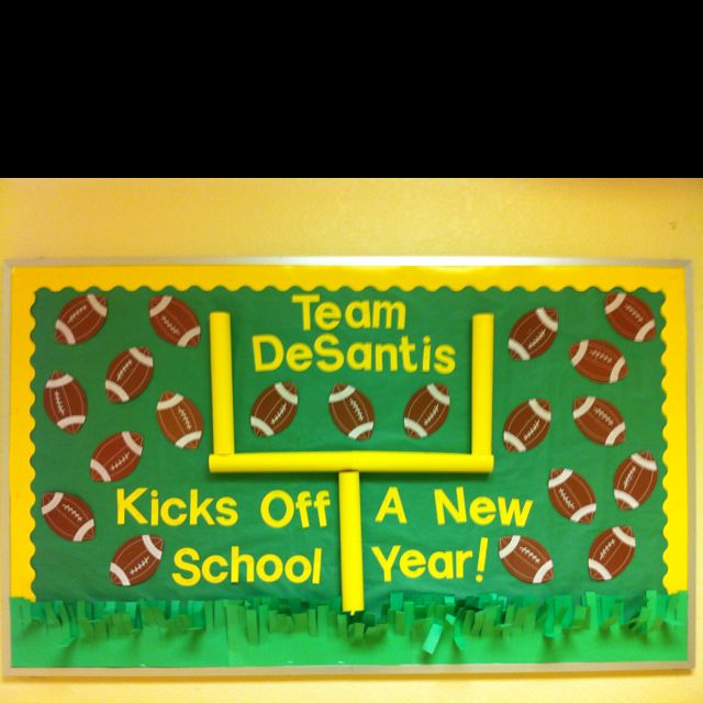 My football themed bulletin board for next year... The boys will love this one!