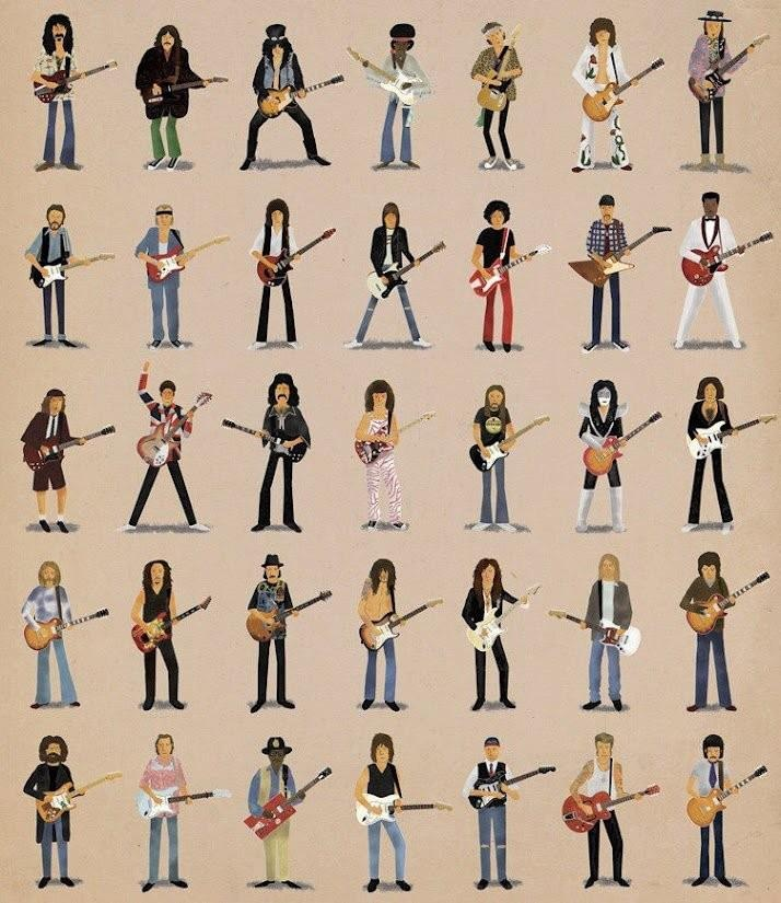 Allman, Clapton, Angus Young, Jeff Lynne, Zappa, Kirk Hammett, Mark Knopfler, Lennon, Harrison, Thownsend, Brian May, Hudson, Iommi, Bo Diddely, Slash, Johnny Ramone, Van Halen, Jeff Beck, John Frusciante, Hendrix, J.Mascis, Morello, Steve Vai, Jack White, Kurt Cobain, Keith Richards,  Malmsteen, Gilmour, Jimmy Page, Josh Homme, Ace Freely, Gene Simmons, Brian Setzer, The Edge, Ritchie Blackmore, Noel Gallagher, Stevie Ray Vaughan, Chuck Berry & Peter Green.