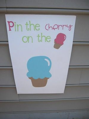 New spin on the pin game. Pin the cherry on the ice cream game. Great for a candy land party or ice cream party,