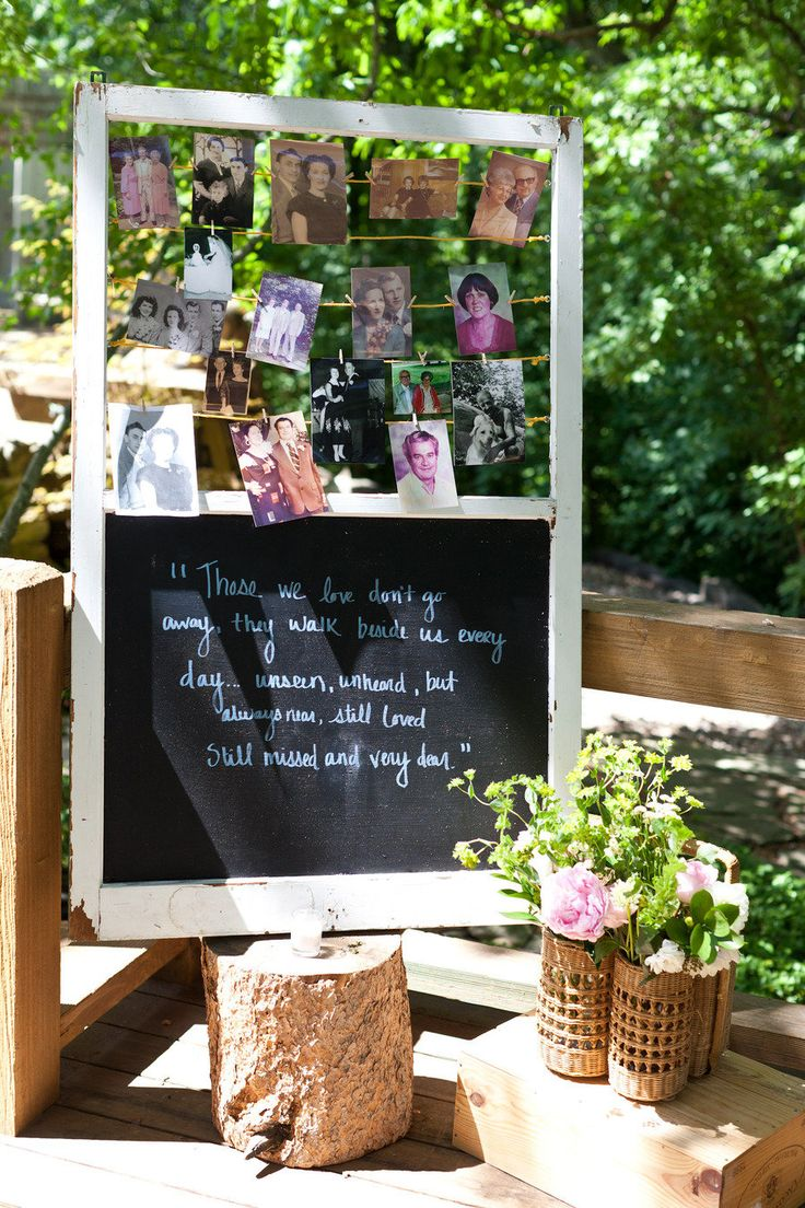 "I love this ""remembrance board"" - not just for weddings but for any big family occasion?    Beautiful way to honor those who can't be with us on our day..."