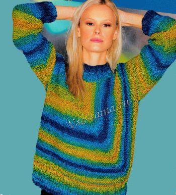 Сине-желтый пуловер спицами, фото