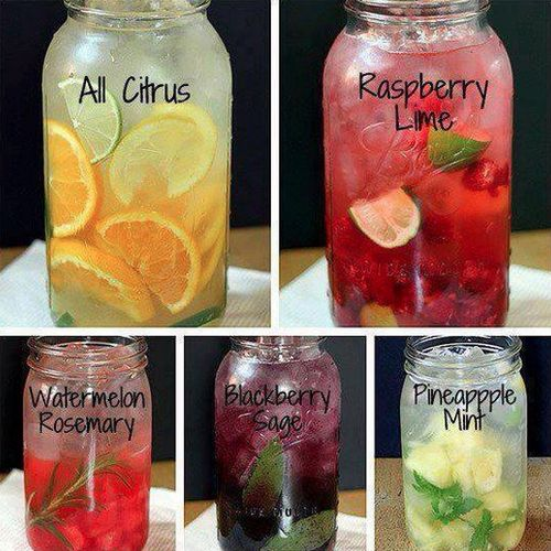 SPRING CLEANSE ~ YOUR BODY ~ Yes another post about water lol. But if you really want to cleanse then DRINK, DRINK, DRINK. Here are 8 home made vitamin water recipes to help you keep the water flowing!1) The classical: lemon/cucumber:Mix in a pitcher: 10 cups of water + 1 cucumber and a lemon, thinly sliced + 1/4 cup fresh finely chopped basil leaf + 1/3 of finely chopped fresh mint leaves. Leave in the refrigerator overnight before serving.2) The granite: Strawberry/Lime or Raspberr