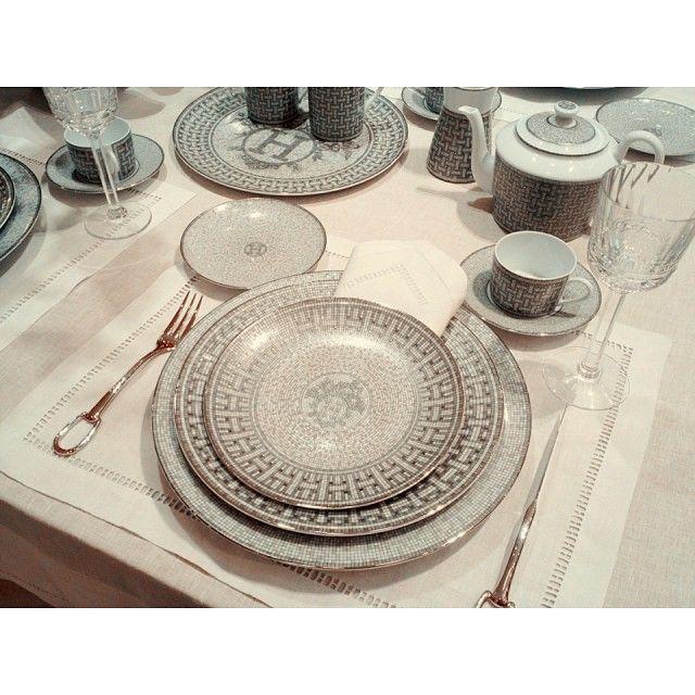 02d0c1f9876e Latest collection of Hermès Porcelaine  Mosaique Platine  hermes   hermesparis…   Arts de la table   Pinterest   Hermes home, Dinnerware et  Hermes