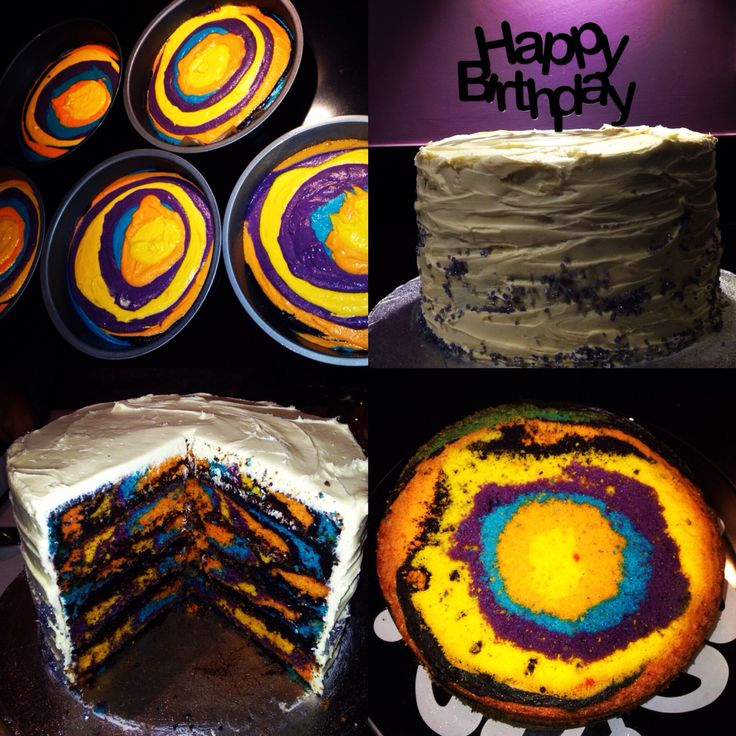 Multicoloured zebra 5 layer cake with homemade topper