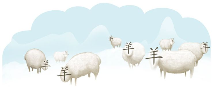 El carácter yang (羊, cordero) en las palabras chinas