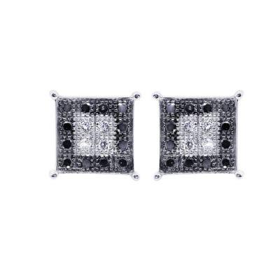 0.32 Carat Diamond Earring For Men Craft In 14k White Gold