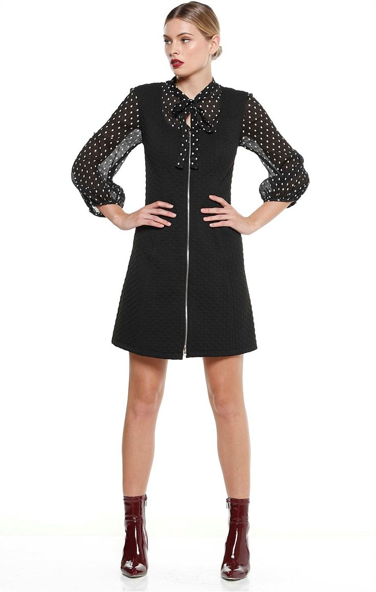 DONATELLO QUILTED SPOT ZIP FRONT SCOOP NECK TUNIC DRESS IN BLACK