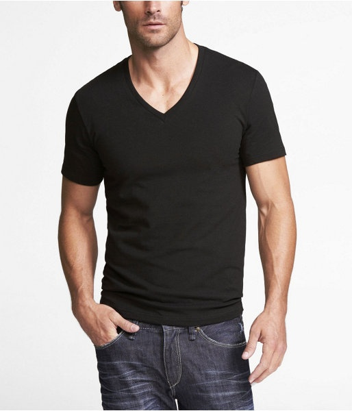 Express Mens Stretch Cotton Deep Vneck Tee Pitch Black, X Small