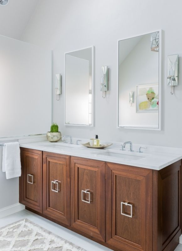 Wood Vanity Oversized Square Pulls Unique Bathroom