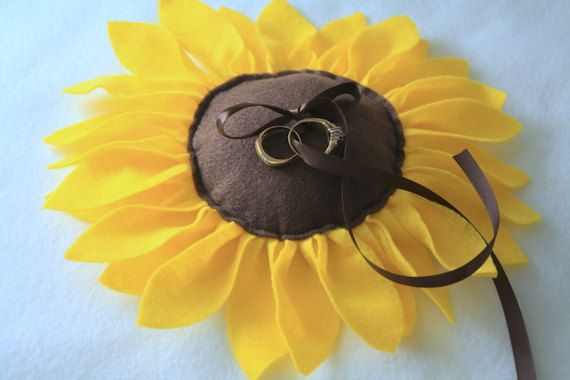 Sunflower Wedding Ring Pillow by TimberAndStitch on Etsy, $25.00