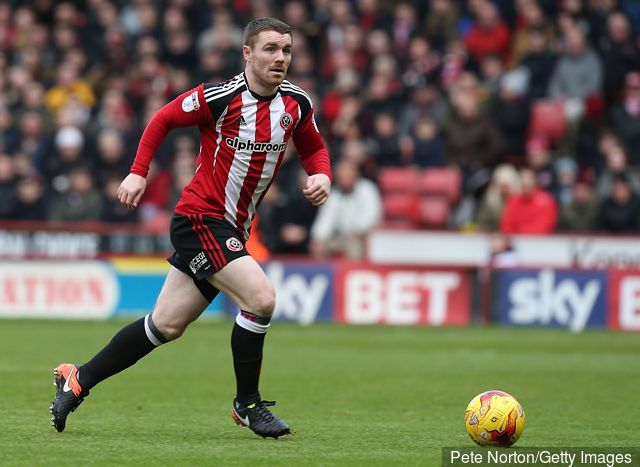 John Fleck  in action during the Sky Bet League One match between Sheffield United and Northampton Town at Bramall Lane on December 31, 2016