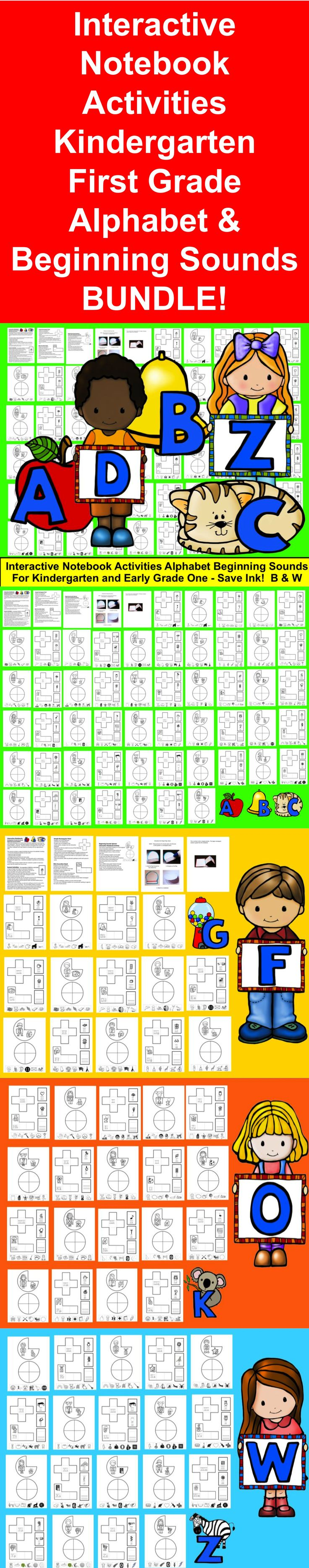 $ Interactive Notebooks  ♥ Kindergarten & Early First Grade ♥ Beginning Sounds BUNDLE! ★ Interactive Notebooks are a much more interactive approach to learning than just worksheets.  ★ 58 Page Download  This resource contains a range of activities focusing on the alphabet including: ★ 6 Interactive Notebook Activities for Each Letter ★ Uppercase letter formation ★ Lowercase letter formation ★ 6-8 Beginning Sound Pictures for Each Letter