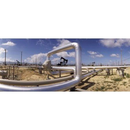 Pipelines on a landscape Taft Kern County California USA Canvas Art - Panoramic Images (30 x 13)