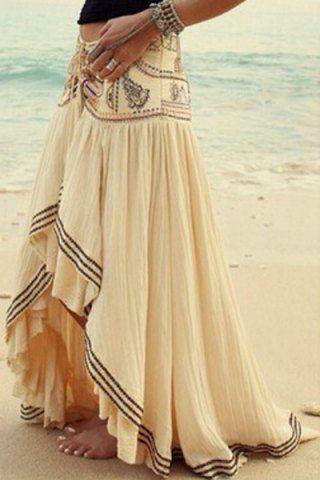 Stylish High-Waisted Printed Asymmetrical Women's Skirt