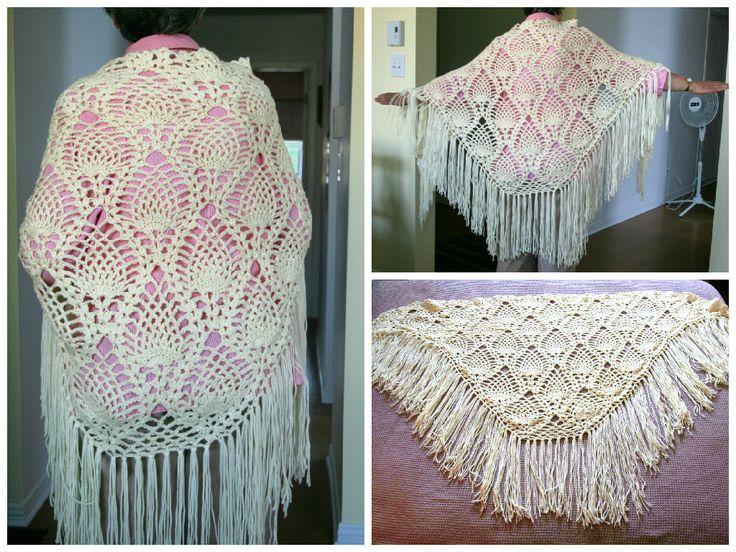 Pineapple stitch triangle shawl
