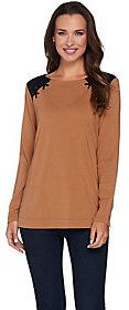 As Is Susan Graver Weekend Cotton Modal Long Sleeve Top w/Lacing Detail