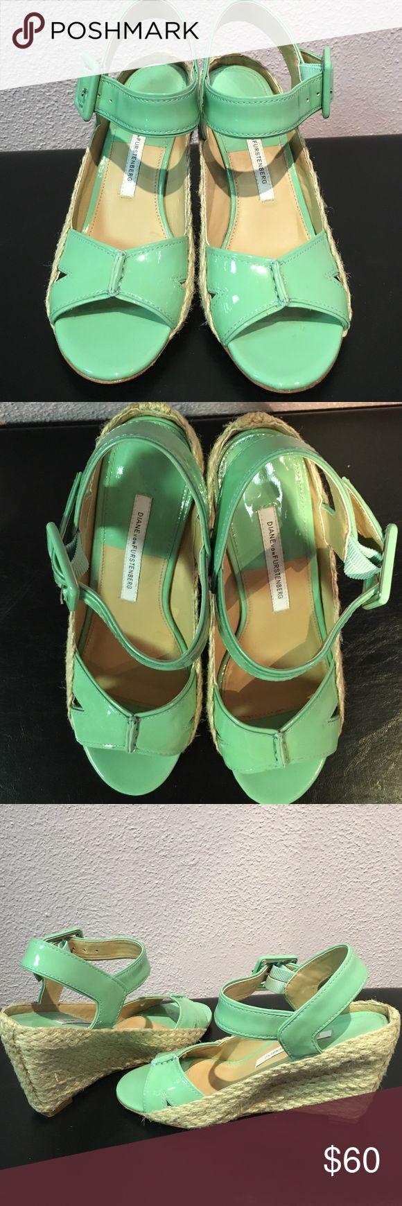 Diane Von furstenberg wedges In good condition size 6 M Diane Von furstenberg green espadrille wedges Diane von Furstenberg Shoes Wedges