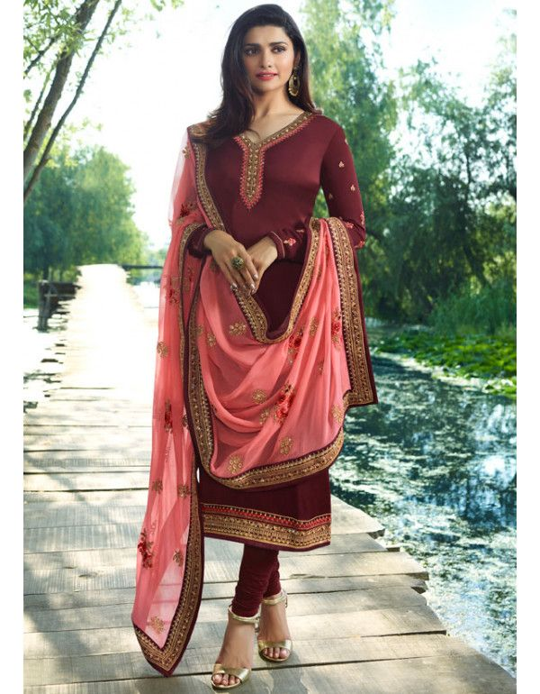 cdc7f6e248 Prachi Desai Garnet Maroon Suit with Embroidered Dupatta | Bollywood ...