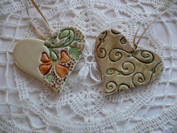 ceramic textured hearts