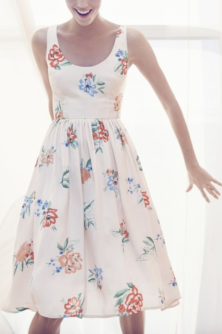 kind of the dress i'm looking for: summer, the wide straps, maybe lower waist, floral/white/simple, knee length, sleeveless, flare at the bottom