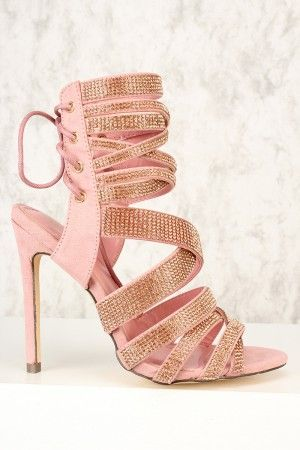 99e9d810dc4c Sexy Dust Pink Rhinestone Open Toe Lace Up High Heels Booties Faux Suede
