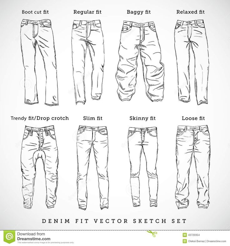 How to draw different kind of jeans - clothing drawing Reference