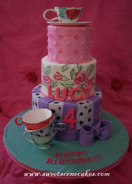 Tea Party Cake with imprinted buttercream #teapartycake #teaparty #teaparty #gumpasteteacups