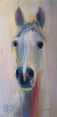 Pretty white horse painting. Looks like watercolor. Kimberly Santini