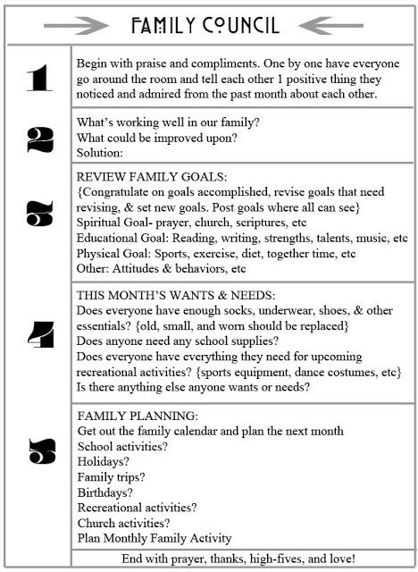 Miss Poppins: Family Council Free Printable