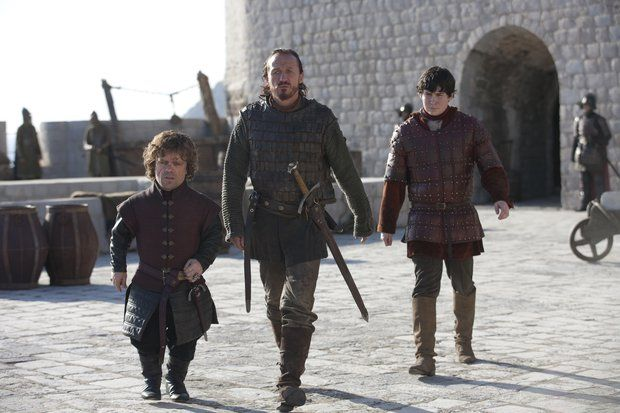 Peter Dinklage as Tyrion Lannister, Jerome Flynn as the newly knighted Bronn of the Blackwater and Daniel Portman as Podrick Payne in 'Game of Thrones' Season 3