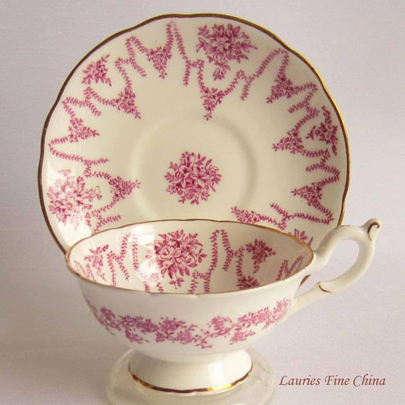 Coalport Un-named Wide Mouth with Pink Florals and Swags Bone