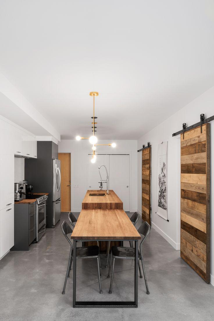 Mariage du béton, du bois et de placage dans une cuisines KnightsBridge