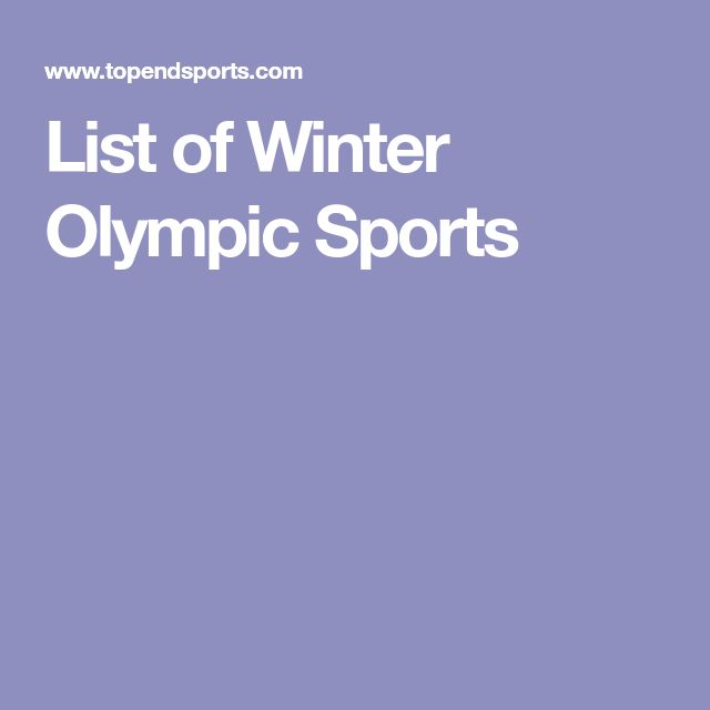 List of Winter Olympic Sports