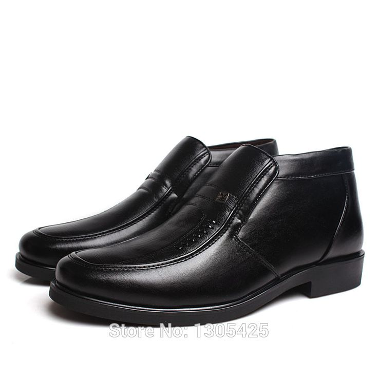 Winter Men's Warm Leisure Cotton Padded Black Leather Driving Dress Shoes 802