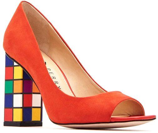 Half An Inch Block Heel Red Shoes