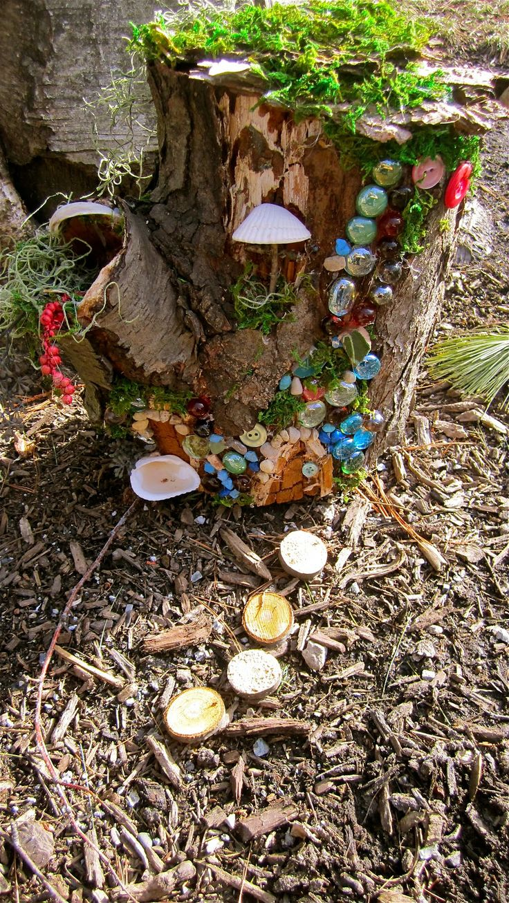 Tree stump fairy house - My Garden Diaries Fairy House Out Of Old Stump