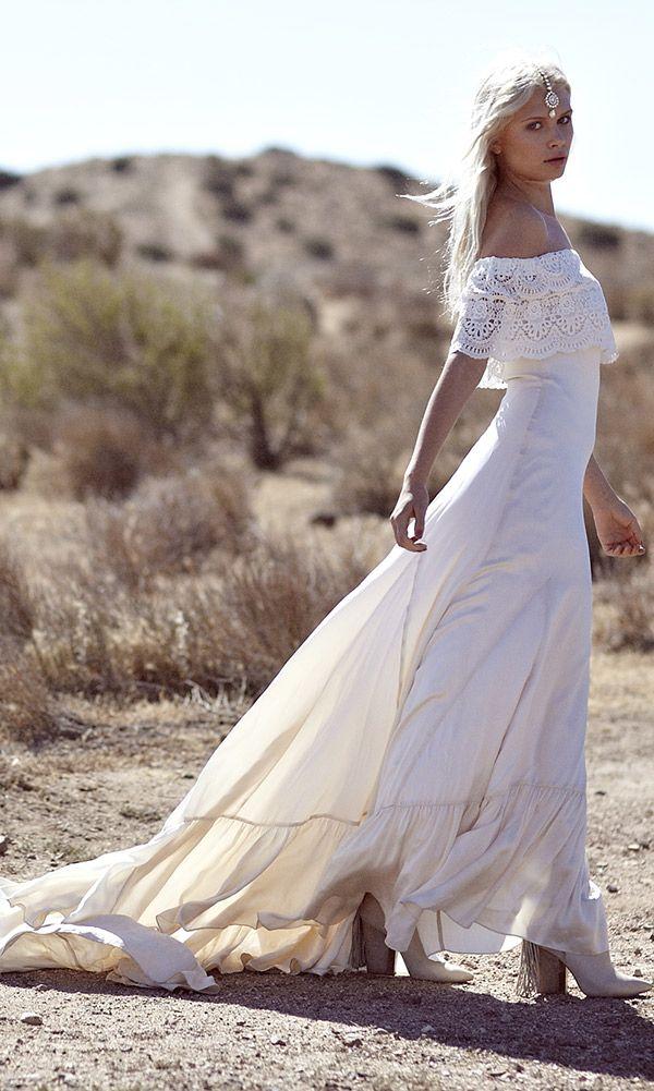 Casablanca off the shoulder lace wedding dress ivory for Off the shoulder bohemian wedding dress