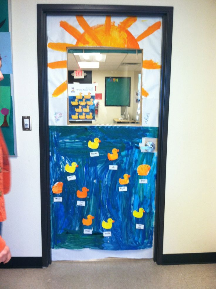 10 Little Rubber Ducks door decoration (by Eric Carle). My SpEd class made this door and we labeled north, south, west, east, left, right, up, down, this way, that way for all of the ducks on the door (We were learning about directions). Love how this came out!