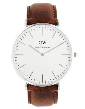 Image 1 ofDaniel Wellington Bristol Silver Brown Leather Strap Watch