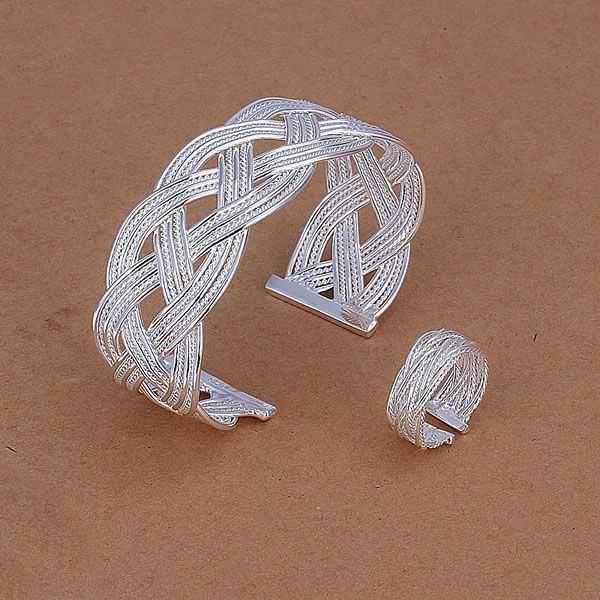 S310 посеребренные комплект ювелирных изделий, Мода ювелирных изделий установить малый трикотажная сетка кольцо браслет S310 / astajkaa fedanvka