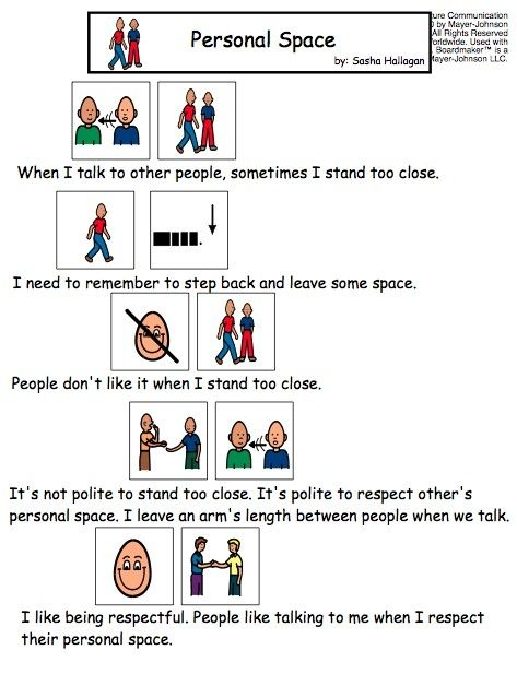 Personal Space - Visual Story for Kids with Autism by Kmintz