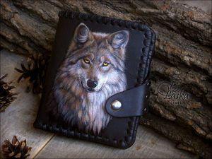 Живопись по коже на основе фотографии. Волк - Кожаные кошельки — Laska Craft - Ярмарка Мастеров