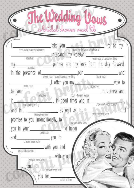 graphic relating to Funny Wedding Mad Libs Printable referred to as Marriage ceremony Vow Crazy Libs