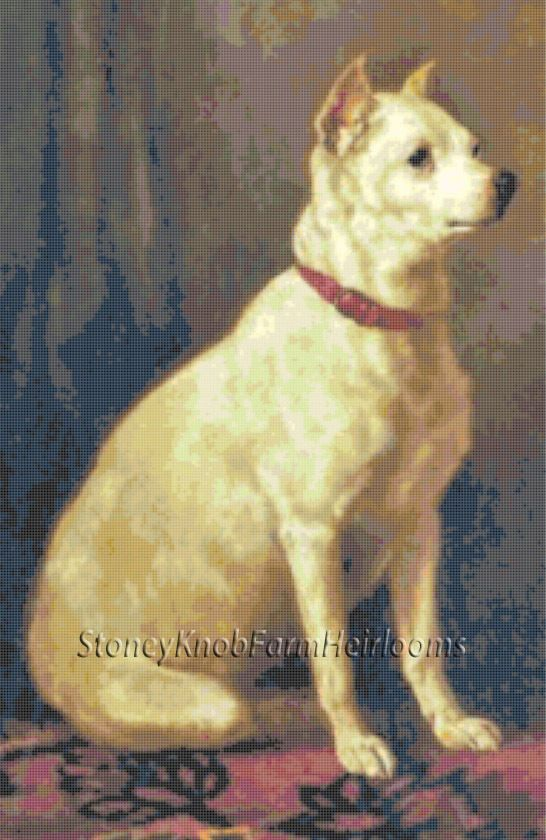 Old English White Terrier ~ Dogs ~ A. de Prades ~ Counted Cross Stitch Pattern #StoneyKnobFarmHeirlooms #CountedCrossStitch