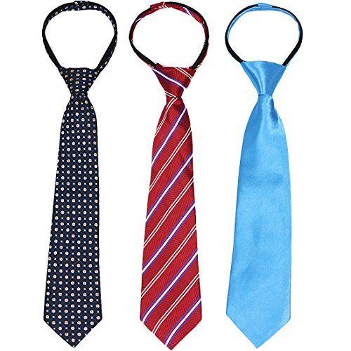 kilofly 3pc Pre-tied Adjustable Zipper Tie Kids Neck Strap Boys Baby Necktie