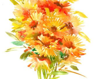 Calendula, original watercolor painting, 14 x11 in, orange red floral wall art flame colors, Orange olive green painting floral
