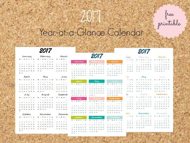 2017 At-a-Glance free printable Calendar - Ioanna's Notebook