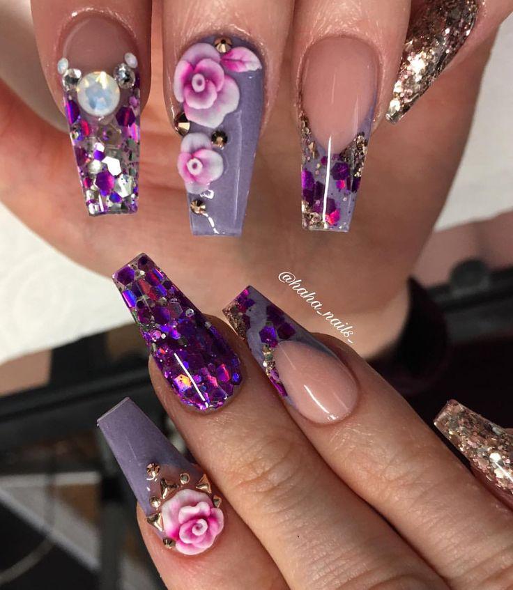 I'm not a big purple fan but I lovveeeddd these ♀️ #hahanails #notpolish #glamandglitsnails #glitterheavenaustralia #nailsmagazine #glitterlove #nails #manicure #nailprodigy #purplenails #naildesigns #hairandnailfashion #nailart #nailswag #nailporn #smilelines #3dflowers #opals #coffinnails #longnails #nailitdaily #nailsofinstagram